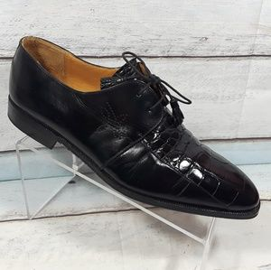 Mezlan Alligator Crocodile Black Lace up Shoe 11 M